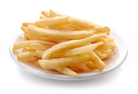 흰색 배경에 고립 된 튀긴 된 감자의 접시 스톡 콘텐츠