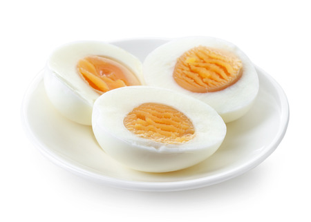 plate of boiled peeled eggs isolated on white background Stock fotó