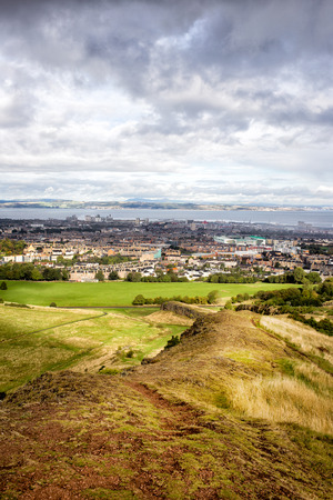view of Edinburgh city from Holyrood park, Scotland