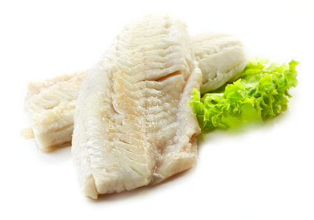 white perch: roasted perch fish fillets isolated on white background
