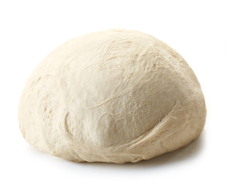 fresh raw dough for pizza or bread baking isolated on white background Standard-Bild