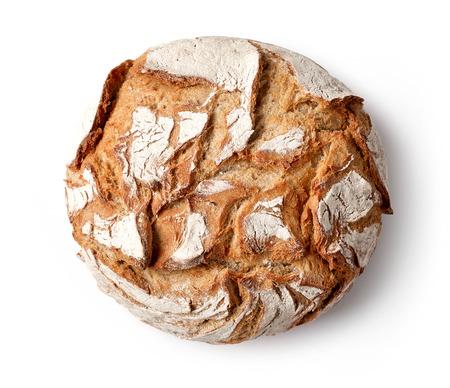白い背景に、平面図上に分離されて焼きたてのパン 写真素材