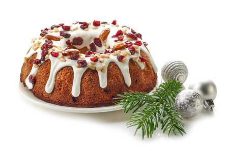cake plate: Christmas cake with fruits and nuts isolated on white background Stock Photo