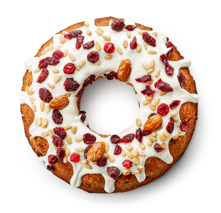 Fruit cake isolated on white background, top view