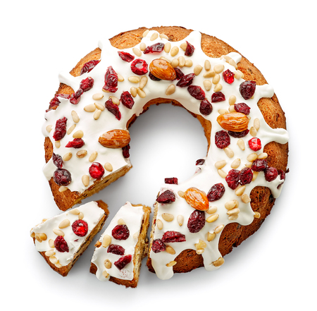 흰색 배경, 상위 뷰를 격리하는 과일 케이크