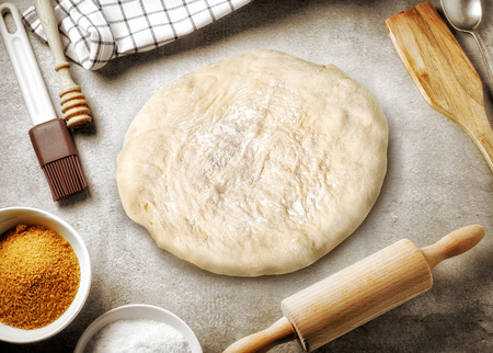 #70320496   Top View Of Kitchen Table And Baking Utensil, Cooking  Background With Free Place For Text