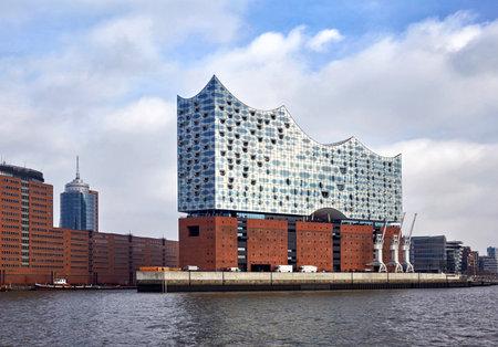 함부르크, 독일 -2 월 16 일, 2017 : Elbphilharmonie, 함부르크의 Hafen City 분기에 콘서트 홀