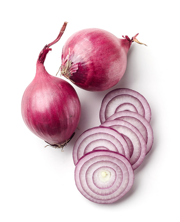 red onions isolated on white background, top view Reklamní fotografie - 72329062