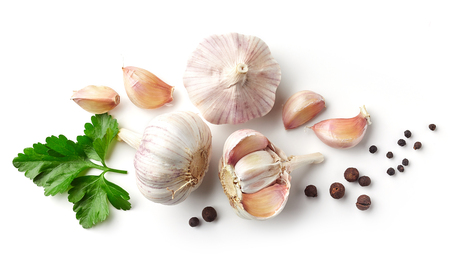 garlic, parsley and pepper isolated on white background, top view