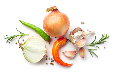 composition of onions and spices isolated on white background, top view