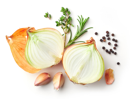onions and spices isolated on white background, top view