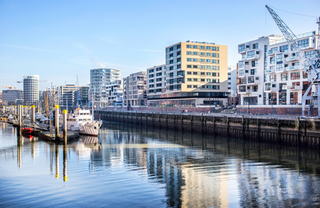 elba: Hamburg, Germany - FEBRUARY14, 2017: panoramic view of Hamburg city canal and river Elba