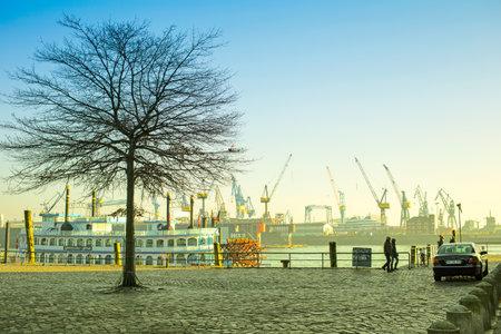 elba: Hamburg, Germany - FEBRUARY15, 2017: view of Hamburg port and river Elba