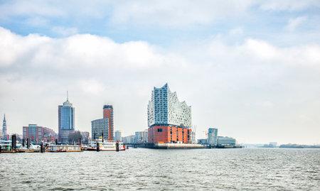 Hamburg, Germany - FEBRUARY 16, 2017: panoramic view of Hamburg city and Elbphilharmonie, a concert hall in the Hafen City quarter of Hamburg