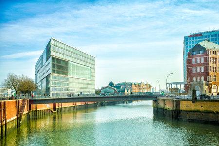 elba: Hamburg, Germany - FEBRUARY 16, 2017: view of Hamburg city canal and office building