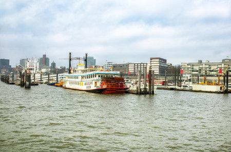 elba: Hamburg, Germany - FEBRUARY 16, 2017: panoramic view of river Elbe and Hamburg