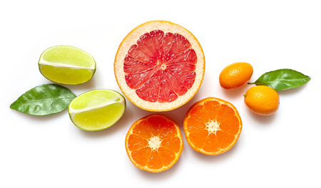 clementines: various citrus fruits isolated on white background, top view