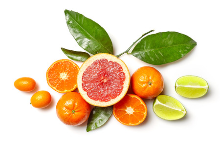 clementines: composition of various citrus fruits isolated on white background, top view Stock Photo