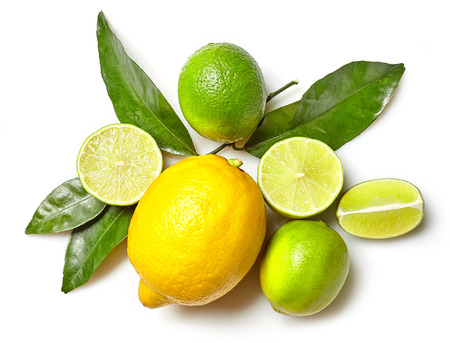 various citrus fruits isolated on white background, top view
