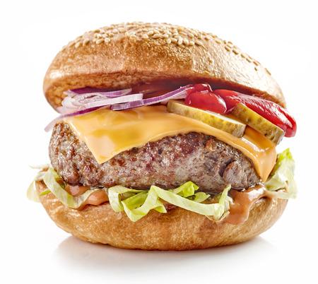white isolated: fresh tasty burger isolated on white background Stock Photo