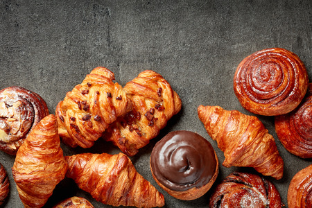 Various freshly baked pastries, top view