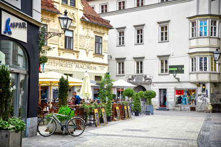 Graz, Austria - MAY 7, 2017: Street view of Graz, Austria