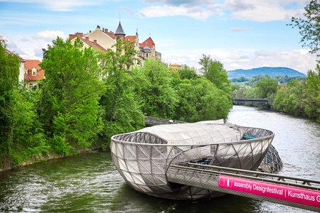 Graz, Austria - MAY 7, 2017: The Murinsel bridge in Graz old town Editorial