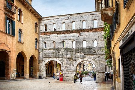 Verona, Italy - MAY 6, 2017: Ancient Roman Porta Borsari Gate in Verona, Italy
