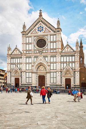 Florence, Italy - MAY 3, 2017: Basilica of Santa Croce, meaning Holy Cross