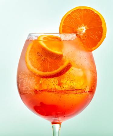 Glass of aperol spritz cocktail, selective focus Foto de archivo
