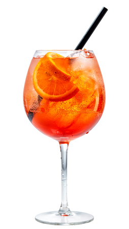 glass of aperol spritz cocktail isolated on white background