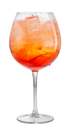 spritz: glass of aperol spritz cocktail isolated on white background, selective focus