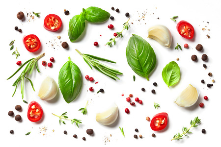 various herbs and spices isolated on white background, top view