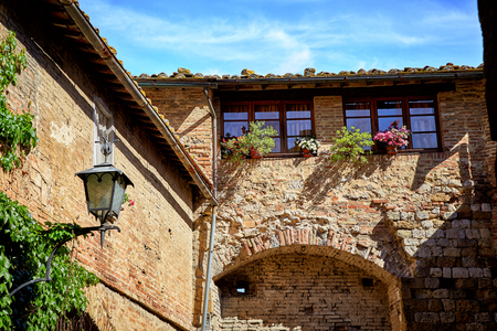 Historic buildings of Tuscany town Montepulciano, Italy Stock Photo