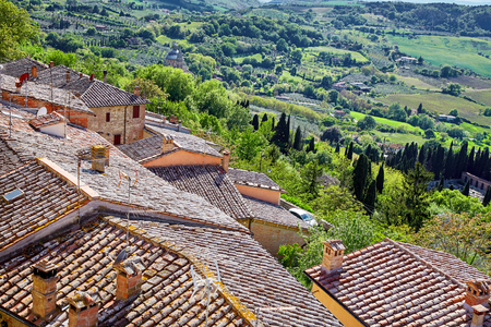 View over the Tuscan countryside and the town of Montepulciano, Italy
