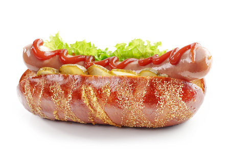 fresh hot dog isolated on a white background