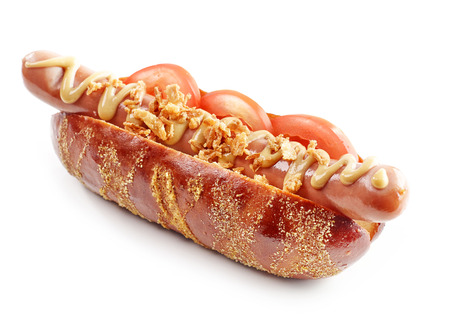 fresh hotdog with mustard and tomato isolated on white background