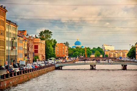 st petersburg: Saint Petersburg, Russia - JUNE 25, 2017: panoramic view of Fontanka river bridges and Trinity Cathedral