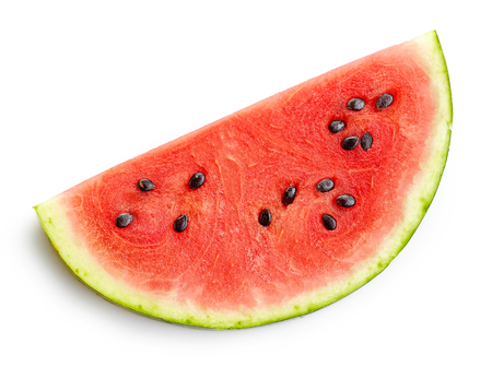 sliced watermelon: slice of watermelon isolated on white background, top view Stock Photo