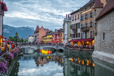 Annecy, France - july 19, 2017: Night view of Annecy city canal
