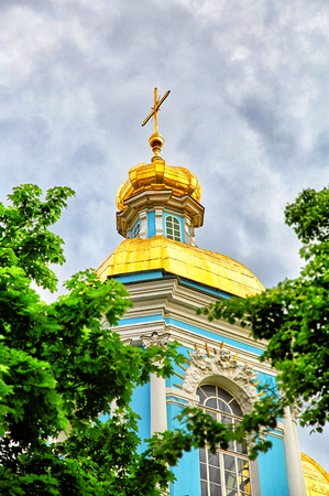 St. Nicholas Naval Cathedral, a major Baroque Orthodox cathedral in the western part of Central Saint Petersburg, Russia
