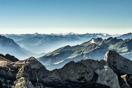 Mountain view from  Mount Saentis, Switzerland , Swiss Alps. 免版税图像 - 83401708