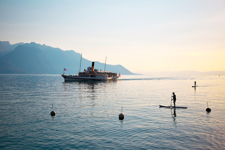 vevey: View of Alps and Geneva lake, excursion ship, Switzerland Stock Photo