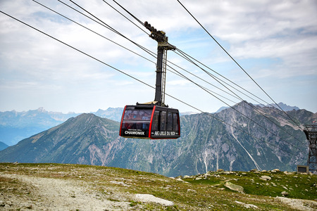 Chamonix, France - JULY 19, 2017: The Aiguille du Midi cable car Editorial