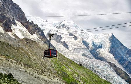 Chamonix, France - JULY 19, 2017: The Aiguille du Midi cable car