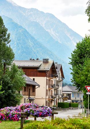 Street view of Chamonix town, France, French Alps Reklamní fotografie
