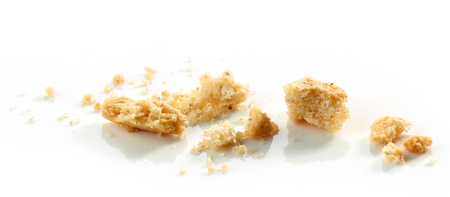 shiver: crumbs of cookie macro isolated on white background Stock Photo