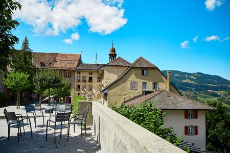 Street cafe in Old Town Gruyere, Switzerland