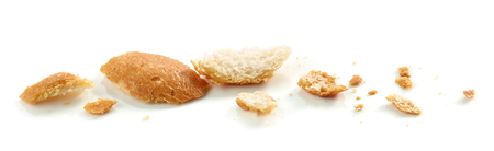 Bread crumbs macro isolated on white background