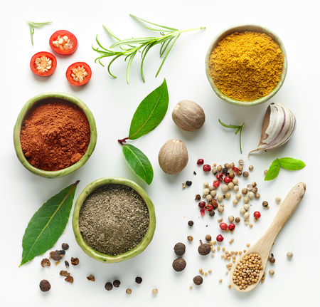 Various herb and spices, top view 版權商用圖片 - 89285138